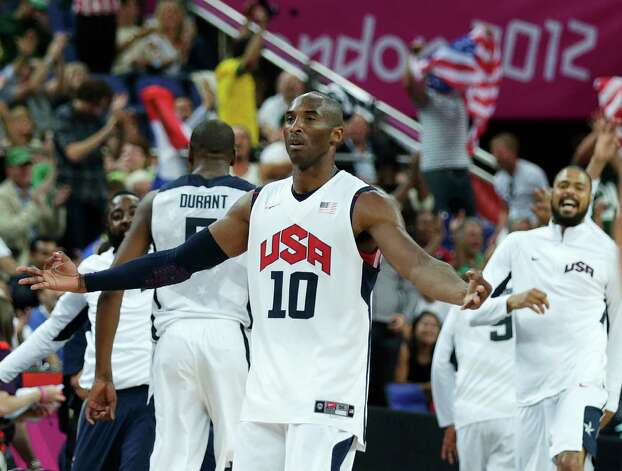 USA's Kobe Bryant celebrates a 3-pointer against Australia during a men's quarterfinals basketball game at the 2012 Summer Olympics, Wednesday, Aug. 8, 2012, in London. (AP Photo/Charles Krupa) Photo: Charles Krupa, Associated Press / AP