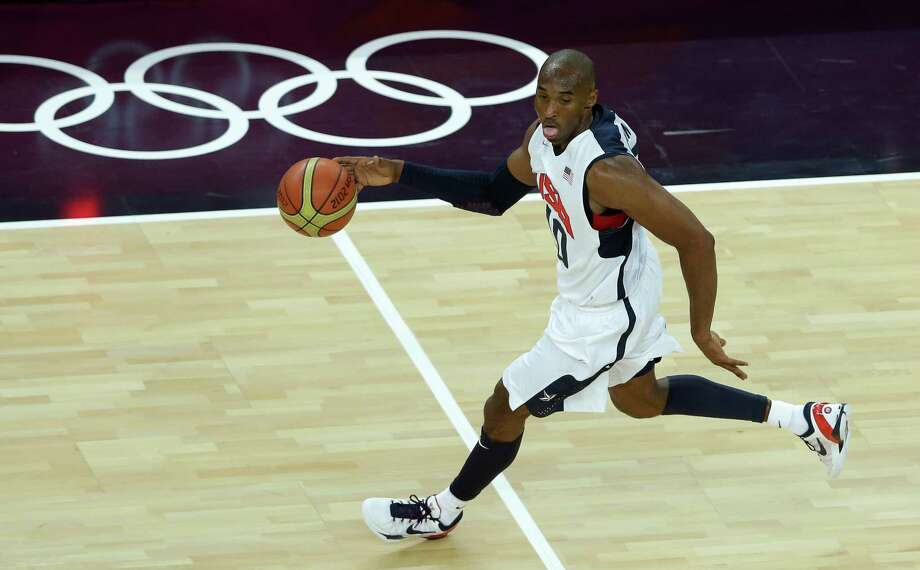 United States' Kobe Bryant dribbles during a quarterfinal men's basketball game against Australia at the 2012 Summer Olympics, Wednesday, Aug. 8, 2012, in London. (AP Photo/Victor R. Caivano) Photo: Victor R. Caivano, Associated Press / AP