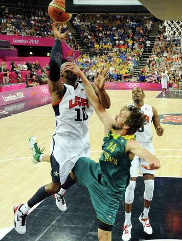 United States' guard Kobe Bryant vies with Australia's forward Matt Nielsen during a men's quarterfinal basketball game at the 2012 Summer Olympics on Wednesday, Aug. 8, 2012, in London. (AP Photo/Mark Ralston, Pool) Photo: Mark Ralston, Associated Press / Pool AFP