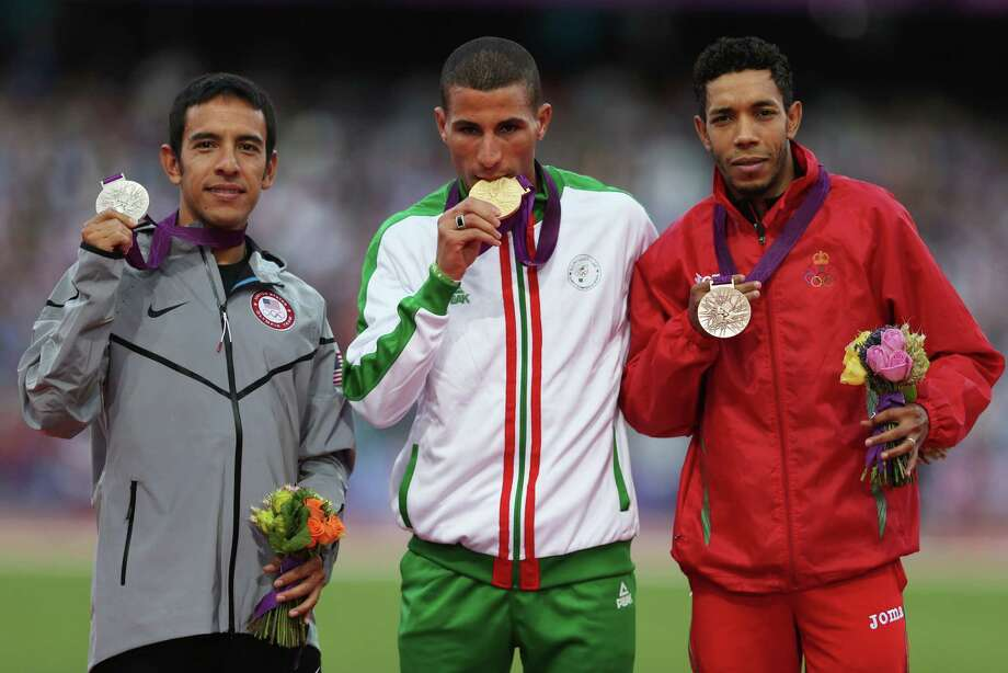 Silver medalist Leonel Manzano (from left) of the United States, gold medalist Taoufik Makhloufi of Algeria and bronze medalist Abdalaati Iguider of Morocco pose on the podium during the medal ceremony for the Men's 1500m on Day 12 of the London 2012 Olympic Games at Olympic Stadium on August 8, 2012 in London, England. Photo: Quinn Rooney, Getty Images / 2012 Getty Images