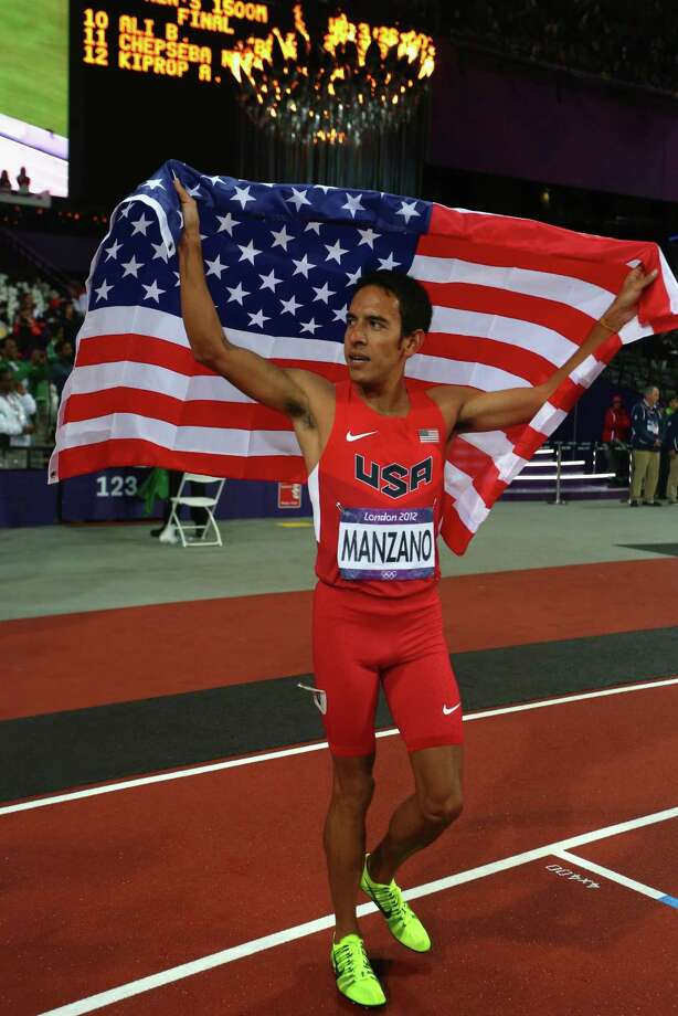 Leonel Manzano of the United States celebrates after winning silver in the Men's 1500m Final on Day 11 of the London 2012 Olympic Games at Olympic Stadium on August 7, 2012 in London, England. Photo: Alexander Hassenstein, Getty Images / 2012 Getty Images