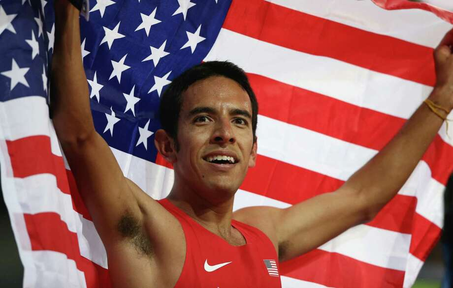 Leonel Manzano of the United States celebrates after winning silver in the Men's 1500m Final on Day 11 of the London 2012 Olympic Games at Olympic Stadium on August 7, 2012 in London, England. Photo: Quinn Rooney, Getty Images / 2012 Getty Images