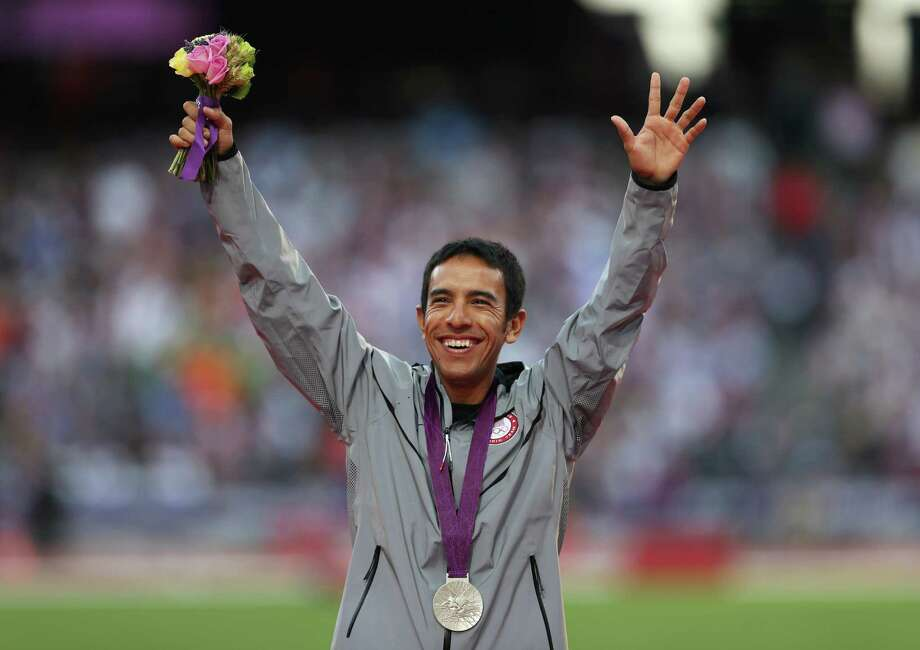 Silver medalist Leonel Manzano of the United States poses on the podium during the medal ceremony for the Men's 1500m on Day 12 of the London 2012 Olympic Games at Olympic Stadium on August 8, 2012 in London, England. Photo: Quinn Rooney, Getty Images / 2012 Getty Images