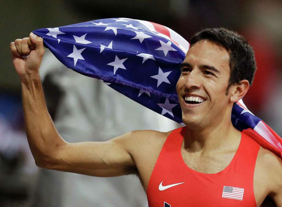 United States' Leonel Manzano celebrates winning silver in the men's 1500-meter final during the athletics in the Olympic Stadium at the 2012 Summer Olympics, London, Tuesday, Aug. 7, 2012. (AP Photo/Sergey Ponomarev) Photo: Sergey Ponomarev, Associated Press / AP