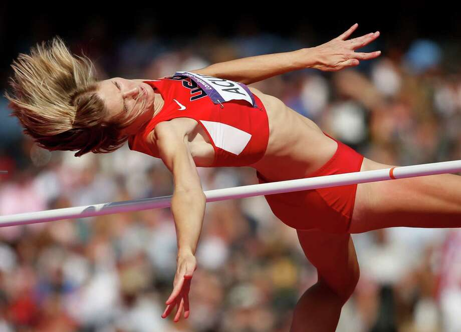 United States' Amy Acuff competes in a women's high jump qualification round during the athletics in the Olympic Stadium at the 2012 Summer Olympics, London, Thursday, Aug. 9, 2012. (AP Photo/Matt Dunham) Photo: Matt Dunham, STF / AP