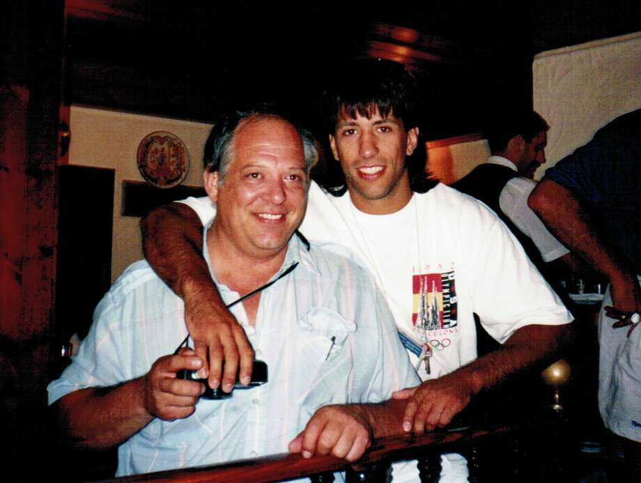Jason and Bernie Morris in Barcelona at the celebration dinner after Jason won a silver medal in the 25th Olympiad in 78kg of the judo competition. (Photo courtesy Jason Morris)