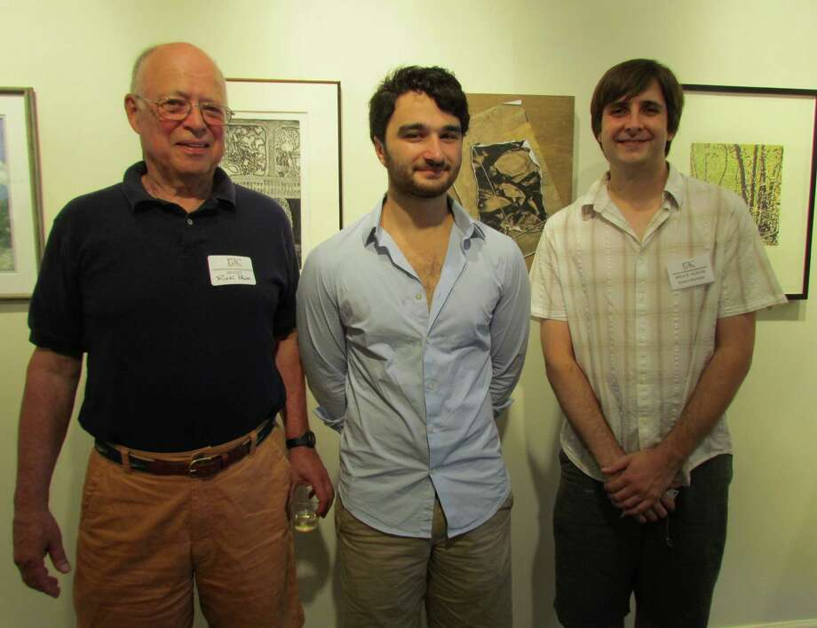 "Rick Pank, Keith Appleby and Bruce Horan at the opening reception for ""Beyond Brushwork"" Sunday, Aug. 5, 2012, at the Rowayton Arts Center. The exhibit runs through Aug. 26. Photo: Contributed Photo"