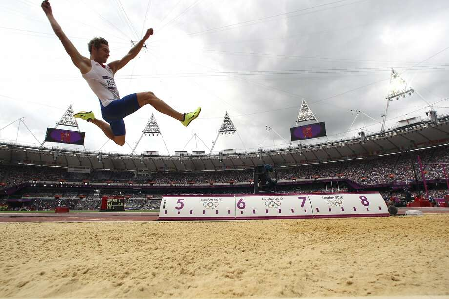 Kevin Mayer of France competes during the long jump portion of the men's track and field decathlon at the 2012 Summer Olympic Games in London, Aug. 8, 2012. (JED JACOBSOHN / New York Times)