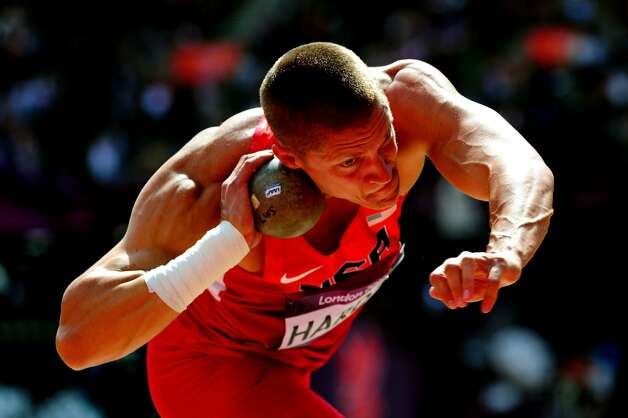 Trey Hardee of the United States competes in the Men's Decathlon Shot Put on Day 12 of the London 2012 Olympic Games at Olympic Stadium on August 8, 2012 in London, England.  (Stu Forster / Getty Images)