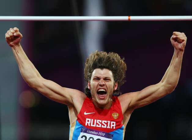 Ivan Ukhov of Russia celebrates winning gold in  the Men's High Jump Final on Day 11 of the London 2012 Olympic Games at Olympic Stadium on August 7, 2012 in London, England.  (Michael Steele / Getty Images)