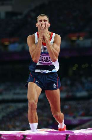 Robert Grabarz of Great Britain reacts during the Men's High Jump Final on Day 11 of the London 2012 Olympic Games at Olympic Stadium on August 7, 2012 in London, England.  (Michael Steele / Getty Images)