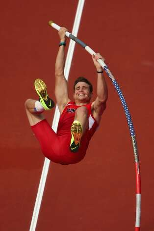 Derek Miles of the United States competes in the Men's Pole Vault Qualifications on Day 12 of the London 2012 Olympic Games at Olympic Stadium on August 8, 2012 in London, England.  (Quinn Rooney / Getty Images)
