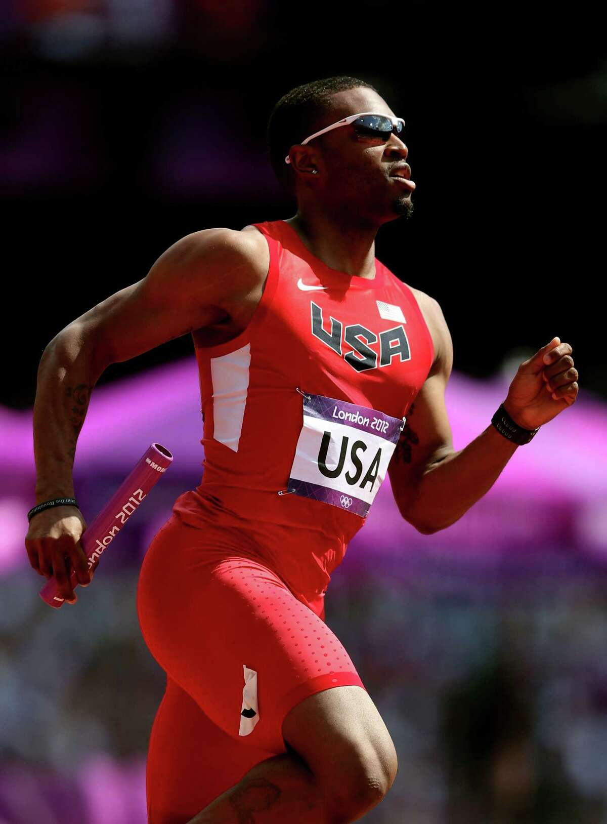 : Manteo Mitchell of the United States competes during the Men's 4 x 400m Relay Round 1 heats on Day 13 of the London 2012 Olympic Games at Olympic Stadium on Thursday.