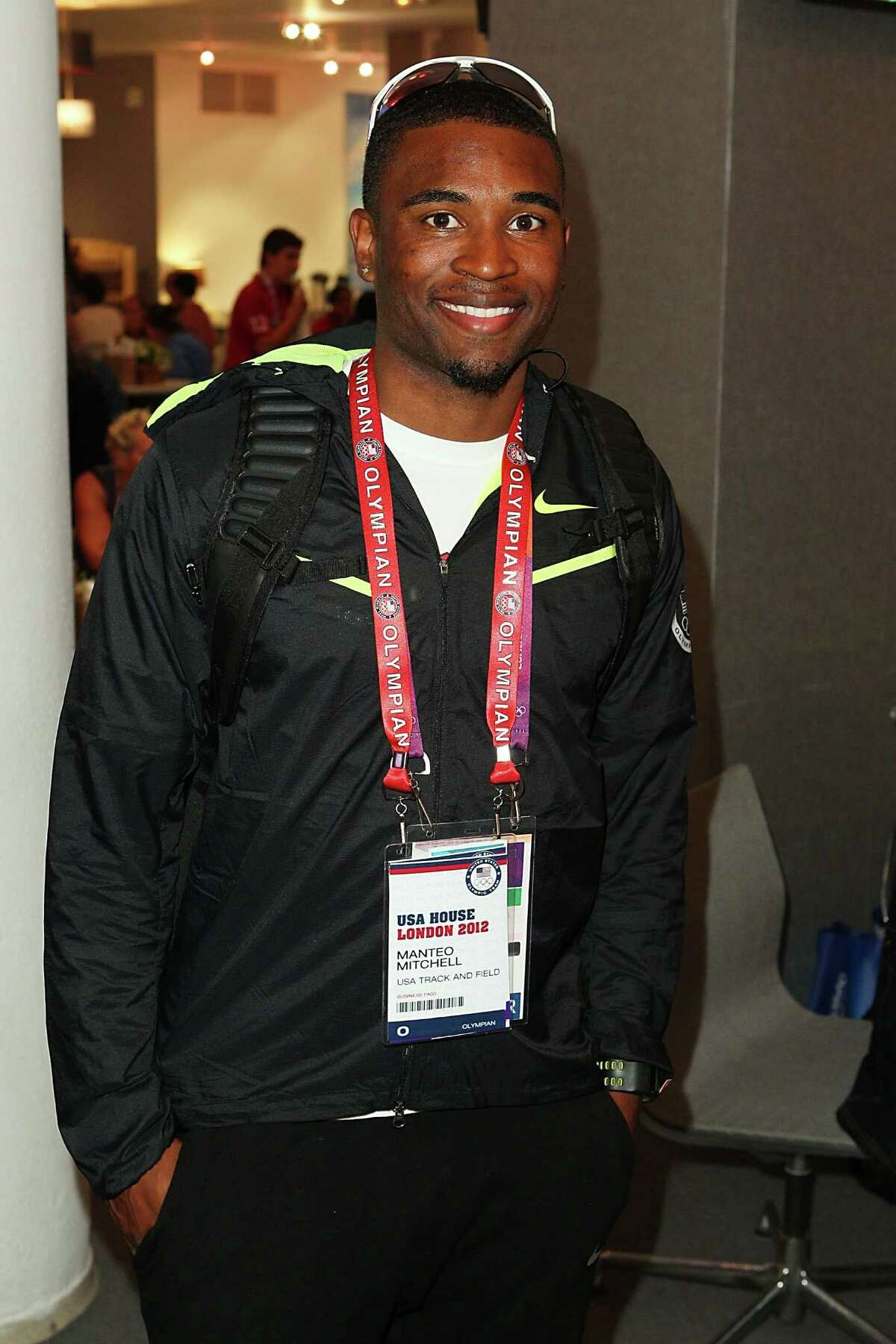 U.S. Olympian Manteo Mitchell visits the USA House at the Royal College of Art on Tuesday in London, England.