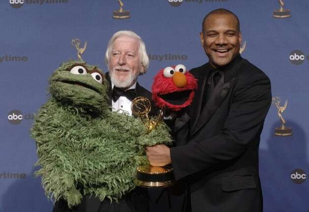 "File: Caroll Spinney with Oscar the Grouch and Kevin Clash with Elmo, winners of Outstanding Pre-School Children's Series for ""Sesame Street"" (Photo by Mathew Imaging/FilmMagic) (FilmMagic)"