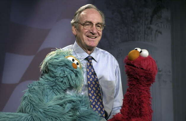 File: Sesame Street pupets Rosita and Elmo of Sesame Street filmed a TV commercial in the U.S. Capitol Senate recording studio with Senator Tom Harkin about preventing childhood obesity.  (Photo By Douglas Graham/Roll Call/Getty Images) (Roll Call/Getty Images)