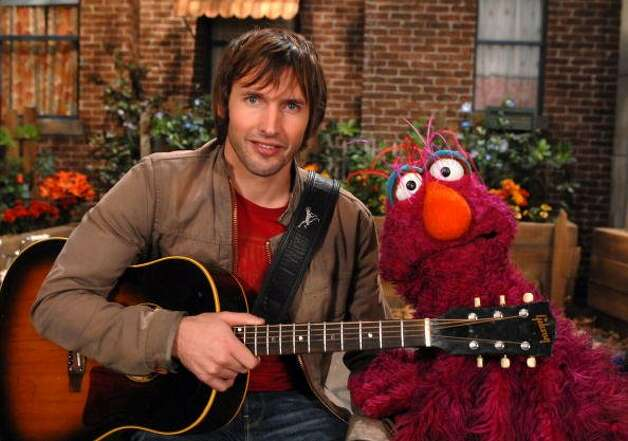 "File: Singer James Blunt stopped by ""Sesame Street"" to sing about his triangle. The song ""My Triangle"" was sung to the tune of his hit ""You're Beautiful."" (Photo by Theo Wargo/WireImage) (WireImage)"