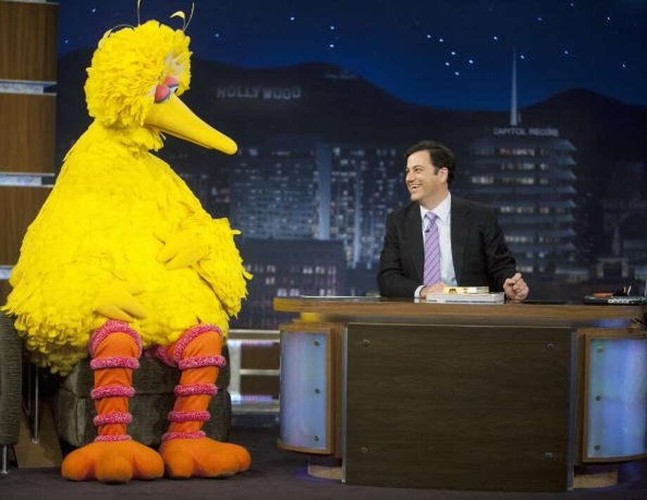 Big Bird chats with Jimmy Kimmel.