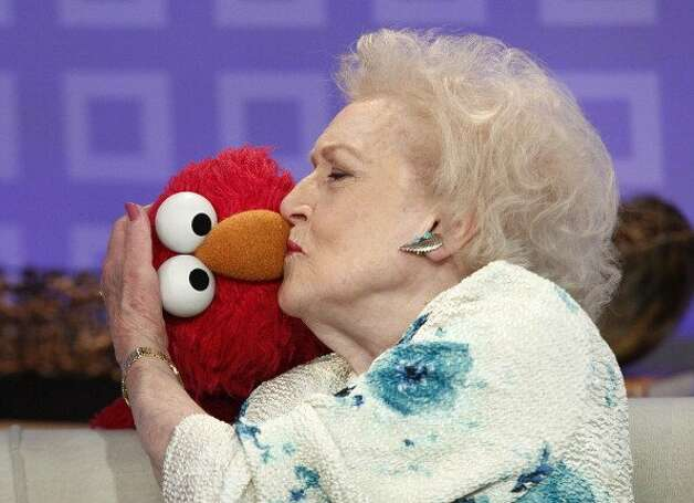 "File: (l-r) Elmo and Betty White appear on NBC News' ""Today"" show  (Photo by Peter Kramer/NBCU Photo Bank via Getty Images) (NBC NewsWire via Getty Images)"
