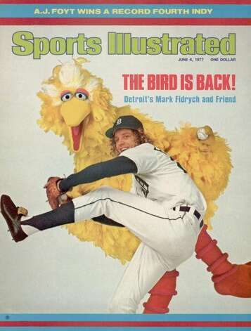 "File: June 6, 1977 Sports Illustrated Cover, Detroit Tigers Mark The ""Bird"" Fidrych, with Big Bird of TV's Sesame Street, January 1, 1977  (Photo by Lane Stewart/Sports Illustrated/Getty Images)   (Sports Illustrated/Getty Images)"