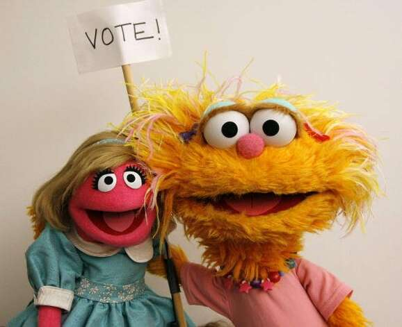 File: Sesame Street Characters Prairie Dawn and Zoe attend a portrait session for the You Vote Campaign on September 19, 2007 in New York City. (Photo by Jemal Countess/WireImage) (WireImage)