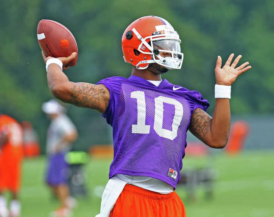 Clemson quarterback Tajh Boyd, pictured throwing a pass in practice, will try to improve on last season's rough finish. Photo: Mark Crammer, Associated Press / Anderson Independent-Mail