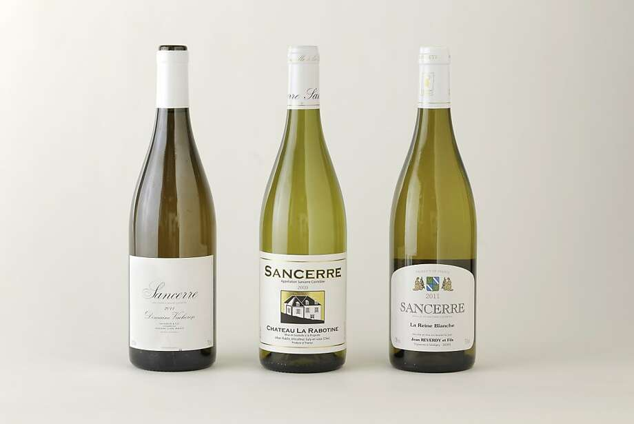 Three bottles of Sancerres left-right: 2011 Domaine Vacheron Sancerre; 2010 Chateau La Rabotine Sancerre; 2011 Jean Reverdy La Reine Blanche Sancerre as seen in San Francisco, California on Wednesday, August 8, 2012. Photo: Craig Lee, Special To The Chronicle