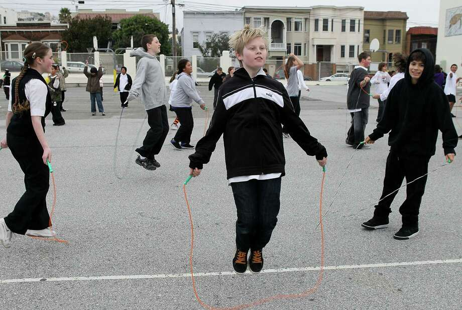 An estimated 80,000 students and teachers at nearly 2,000 California schools attempted to break the world record for number of people jumping rope at the same time on February 1, 2010. Here, students at San Francisco's James Lick Middle School take part. Photo: Justin Sullivan, Getty Images