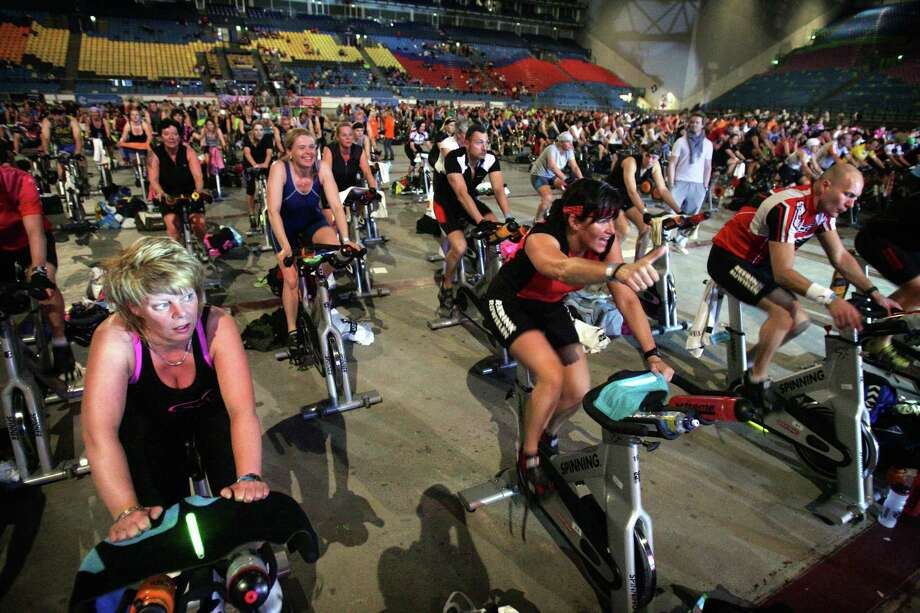 Staying in the Netherlands, here are trainers setting a new spinning bikes record on April 18, 2009 in the Gelredome stadium in Arnhem. Photo: KOEN VERHEYDEN, AFP/Getty Images