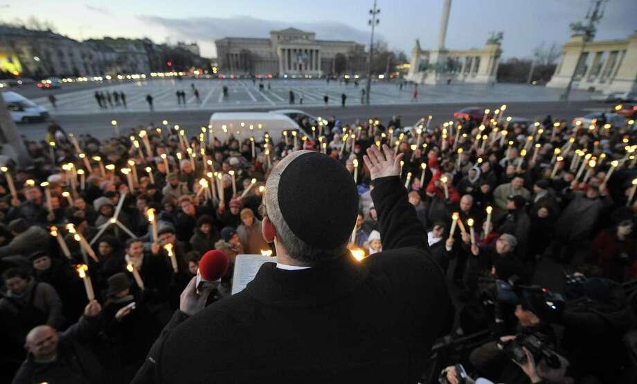 Biggest living menorah? Here it is, on December 21, 2008. Photo: ATTILA KISBENEDEK, AFP/Getty Images