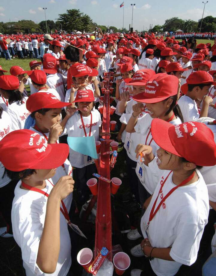 Oral hygiene is always good, as these 10,800 school children showed with this record tooth brushing session on January 29, 2006 in Manila, the Philippines. Photo: JOEL NITO, AFP/Getty Images / k
