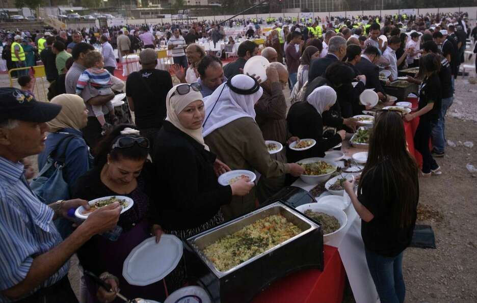 Whoops, we almost forgot a Palestinian record. This is the longest buffet of natural and organic foo