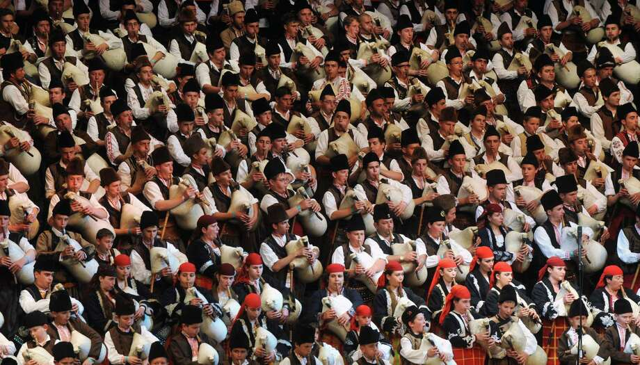 And it's a little more deafening when 333 bagpipers perform together, as they did during this world record attempt in Sofia, Bulgaria this May 16. Photo: NIKOLAY DOYCHINOV, AFP/Getty Images / k