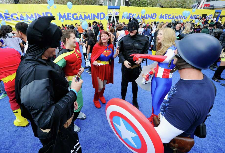 "DreamWorks drew 1,580 ""superheroes"" to this record costume attempt on October 2, 2010 in Los Angeles. It was a promotion for the movie ""Megamind."" Photo: Kevork Djansezian, Getty Images / k"