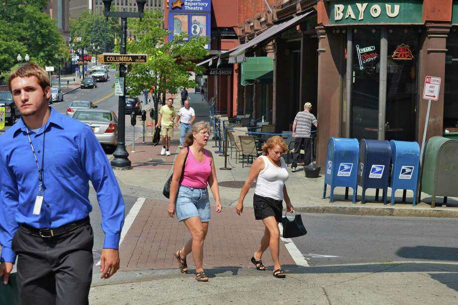 Sidewalk scene along North Pearl Street in Albany Thursday Aug. 9, 2012.  (John Carl D'Annibale / Times Union) Photo: John Carl D'Annibale / 00018794A