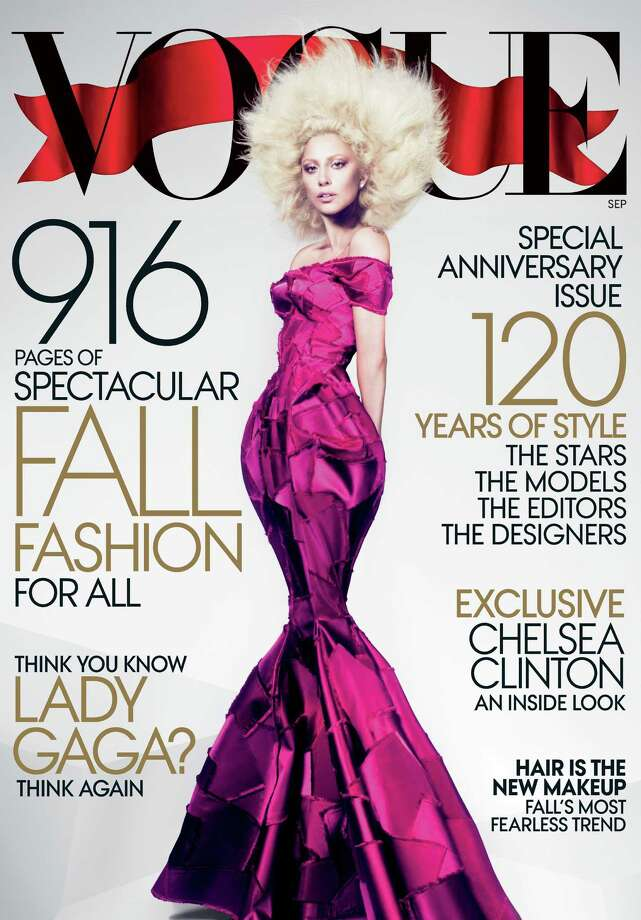 This image released by Vogue shows Lady Gaga on the cover of the Sept. 2012 issue of Vogue magazine. The issue will be available on newsstands nationwide on Aug. 21. (AP Photo/Mert Alas and Marcus Piggott for Vogue) Photo: Mert Alas And Marcus Piggott