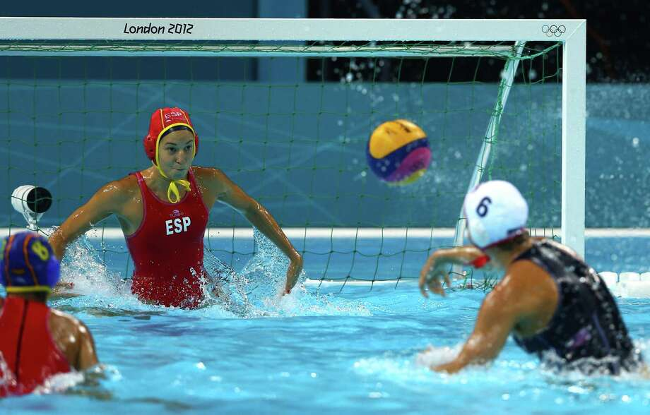LONDON, ENGLAND - AUGUST 09:  Maggie Steffens #6 of United States shoots and scores a goal in the Women's Water Polo Gold Medal match between the United States and Spain on Day 13 of the London 2012 Olympic Games at the Water Polo Arena on August 9, 2012 in London, England. Photo: Al Bello, Getty Images / 2012 Getty Images