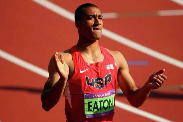 LONDON, ENGLAND - AUGUST 09:  Ashton Eaton of the United States  looks on after competing during the Men's Decathlon 110m Hurdles heats on Day 13 of the London 2012 Olympic Games at Olympic Stadium on August 9, 2012 in London, England. Photo: Cameron Spencer, Getty Images / 2012 Getty Images