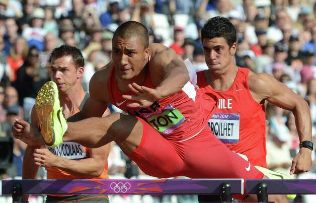 US' Ashton Eaton competes in the men's decathlon 110m hurdles heats at the athletics event during the London 2012 Olympic Games on August 9, 2012 in London. AFP PHOTO / FRANCK FIFEFRANCK FIFE/AFP/GettyImages Photo: FRANCK FIFE, AFP/Getty Images / AFP