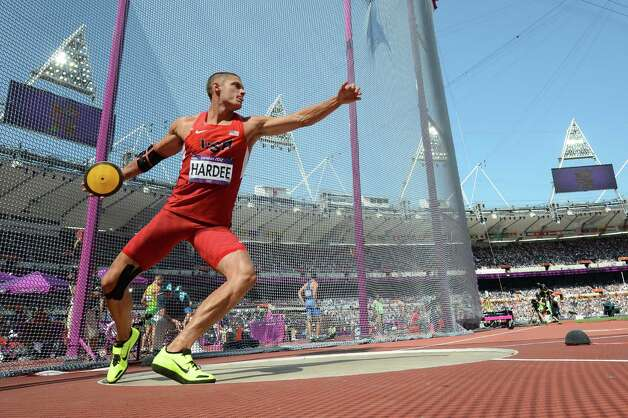 US's Trey Hardee competes in the men's decathlon discus throw at the athletics event during the London 2012 Olympic Games on August 9, 2012 in London. AFP PHOTO / FRANCK FIFEFRANCK FIFE/AFP/GettyImages Photo: FRANCK FIFE, AFP/Getty Images / AFP