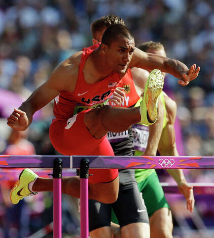 United States' Ashton Eaton clears a hurdle as he competes in a 110-meter hurdles heat in the decathlon during the athletics in the Olympic Stadium at the 2012 Summer Olympics, London, Thursday, Aug. 9, 2012 (AP Photo/Lee Jin-man) Photo: Lee Jin-man, Associated Press / AP