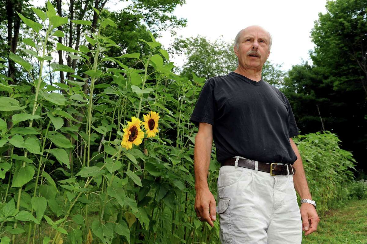 James Howard Kunstler in his garden on Tuesday, July 17, 2012, at his home in Greenwich, N.Y. (Cindy Schultz / Times Union)