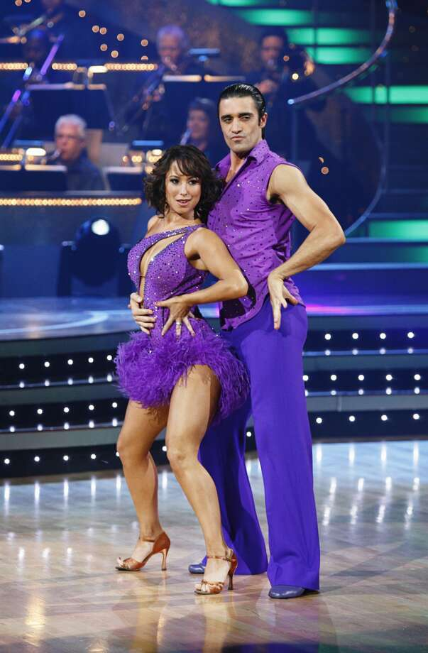 "Gilles Marini, right, and his partner Cheryl Burke performing on ""Dancing with the Stars"" in Los Angeles.   (Kelsey McNeal / Associated Press)"