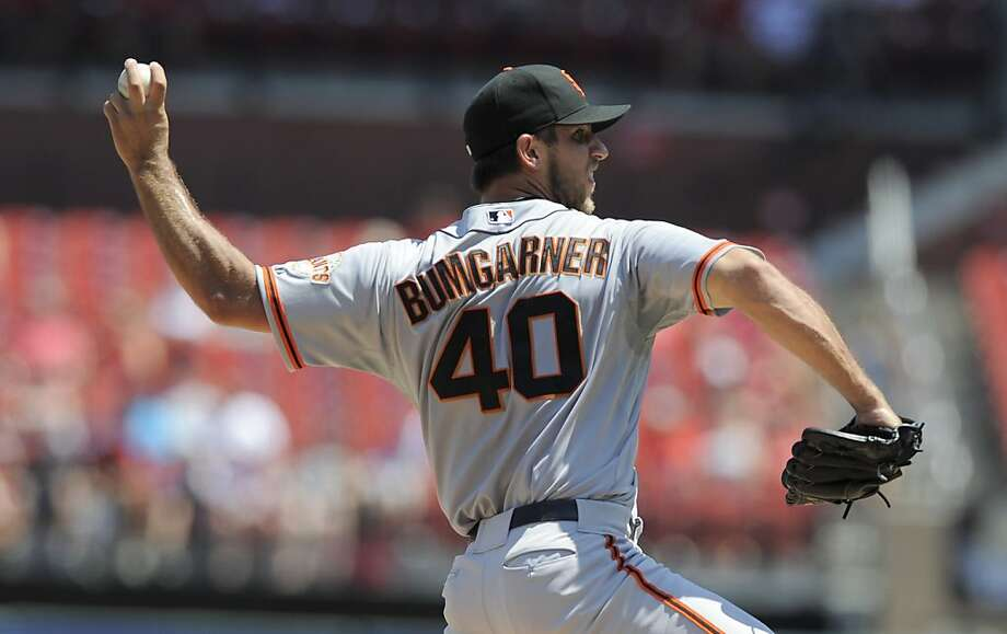 San Francisco Giants starting pitcher Madison Bumgarner throws during the second inning of a baseball game against the St. Louis Cardinals, Thursday, Aug. 9, 2012, in St. Louis. The Cardinals won 3-1. (AP Photo/Jeff Curry) Photo: Jeff Curry, Associated Press