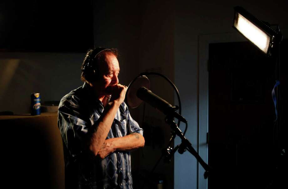 "Accordion legend Leonardo ""Flaco"" Jimenez is seen Thursday Aug. 8, 2012 in the recording studio as he records an album with Max Baca for Smithsonian Folkways, the recording label for the Smithsonian. Photo: William Luther, San Antonio Express-News / © 2012 San Antonio Express-News"