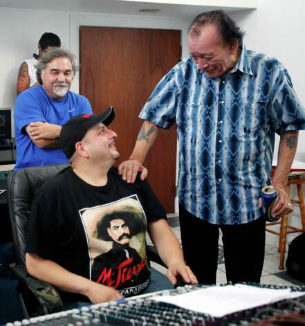 "Accordion legend Leonardo ""Flaco"" Jimenez, right, congratulates Max Baca Thursday Aug. 8, 2012 in the recording studio after the two finished recording an album for Smithsonian Folkways, the recording label for the Smithsonian. Photo: William Luther, San Antonio Express-News / © 2012 San Antonio Express-News"