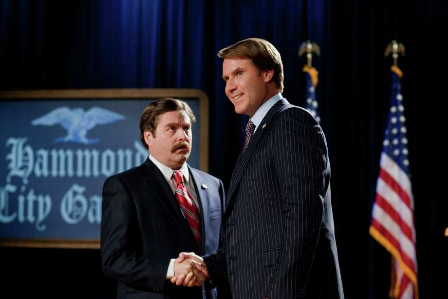 Zach Galifianakis, left, and Will Ferrell have a hefty war chest of laughs ready as they play two North Carolina candidates vying for a seat in the U.S. House. Photo: Patti Perret / © 2012 Warner Bros. Entertainment Inc.  All rights reserved.