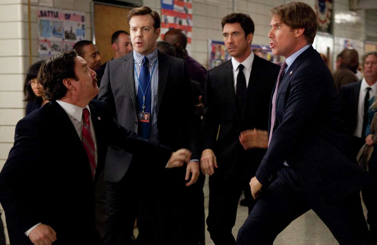 (L-r) ZACH GALIFIANAKIS as Marty Huggins, JASON SUDEIKIS as Mitch, DYLAN McDERMOTT as Tim Wattley and WILL FERRELL as Cam Brady in Warner Bros. Picturesí comedy ìTHE CAMPAIGN,î a Warner Bros. Pictures release.