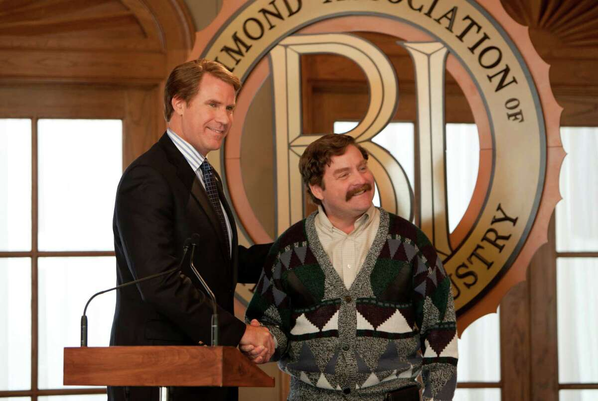 Incumbent congressman Cam Brady (Will Ferrell, left) finds himself in the middle of a dirty campaign for office against Marty Huggins (Zach Galifianakis).