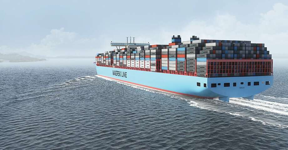 Container vessels being built by Daewoo will carry 18,000 containers. Maersk has ordered 20 of the round-hulled ships. Photo: Maerskline.com